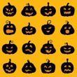 Halloween decoration Jack-o-Lantern silhouette set — Stock Vector