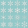 Stock Vector: Collection of 16 different snowflakes