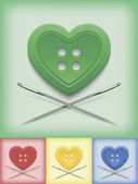 Heart-shaped button and crossed needles — Stockvektor