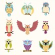 Set of nine cartoon colorful owls — Stock Vector