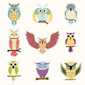 Set of nine cartoon colorful owls — Stock Vector