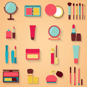 Set of beauty and cosmetics icons. Makeup vector illustration — Stock Vector