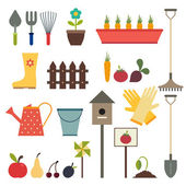Garden and gardening tools icon set. Isolated on a white backgro — Stock Vector