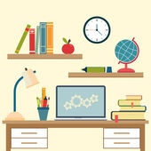 Workplace with high school object and college education items — Stock Vector