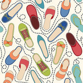 Seamless pattern with colored shoes and dashed lines. Find a pair — Stock Vector