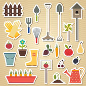 Garden and gardening tools icon set on a light wavy background — Stock Vector