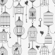 Vintage birds and birdcages collection. Seamless pattern. — Stock Vector #50205431