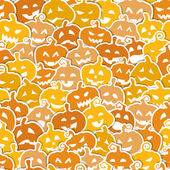 Halloween seamless pattern with yellow and orange pumpkins — Vettoriale Stock