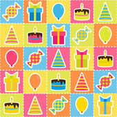 Seamless pattern with elements of birthday party - balloons, cake, gift and candies. Birthday background — Stock Vector