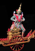 Khon Thai Classical masked ballet in black background. — Stock Photo