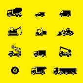 Construction Vehicles Icon Set — Stock Vector