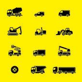 Conjunto de ícones de veículos de construção — Vetor de Stock
