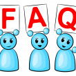 Symbolic figures holding up signs saying: FAQ — Stock Vector