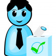 Stock Vector: Voter at polls