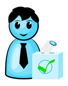 Voter at the polls — Stock Vector