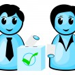 Two voters at a ballot box — Stock Vector