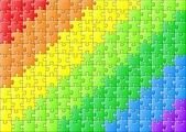 Jigsaw puzzle in rainbow colors — Stock Vector