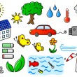 Environmental pollution and green energy icon set  — Stock Vector