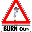 Burnout warning sign — Stock Vector