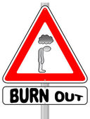 Burnout warning sign — Stock Vector