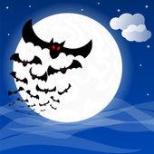 Bats against the full moon — Stock Vector