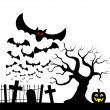 Bats against the full moon — Stock Vector