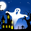 Stock Vector: Haunted house in full moon night
