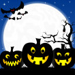 Halloween background with pumpkins, full moon and bats  — Stock Vector