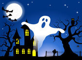 Haunted house in a full moon night — Stock Vector