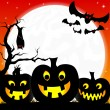Halloween background with pumpkins, full moon and bats  — Stock Vector #31191631