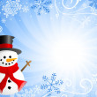 Blue christmas background with a snowman — Stock Vector