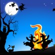 Stock Vector: Witches dancing around fire at halloween