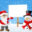 Santa claus and a snowman with sign in his hand — Stock Vector