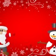 Red christmas background with santa claus and a snowman — Stock Vector