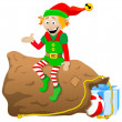 Christmas elf on white background — Stock Vector