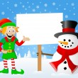 Christmas elf and snowman with sign in his hand — Stock Vector