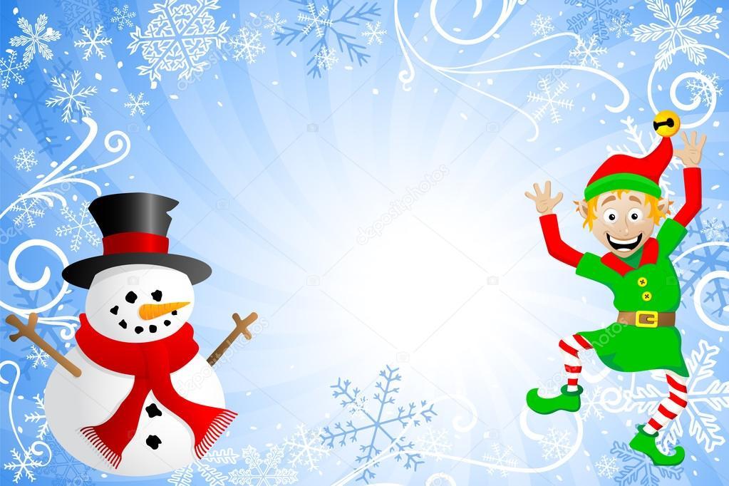 Vektor illustration av en blå jul bakgrund med en snögubbe och en ...