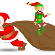 Santa claus with christmas elf — Stock Vector