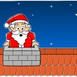 Stock Vector: SantClaus stuck in chimney