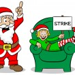 Stock Vector: Christmas elf on strike