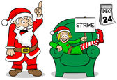 Christmas elf on strike — Stock Vector