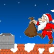 Stock Vector: Santclaus on rooftop