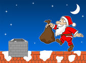Santa claus on the rooftop — Vector de stock