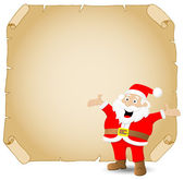 Santa claus and old parchment — Stock Vector