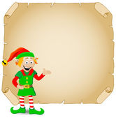 Christmas elf and old parchment — Stock Vector