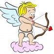 Stock Vector: Cupid with bow and arrow
