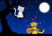 Dois gatos amorosos — Vetorial Stock