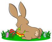 Bunny gömma påskägg — Stockvektor