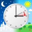 Vector de stock : Time change to daylight saving time