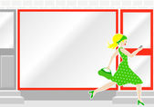 Woman passes by a shop window — Stock Vector